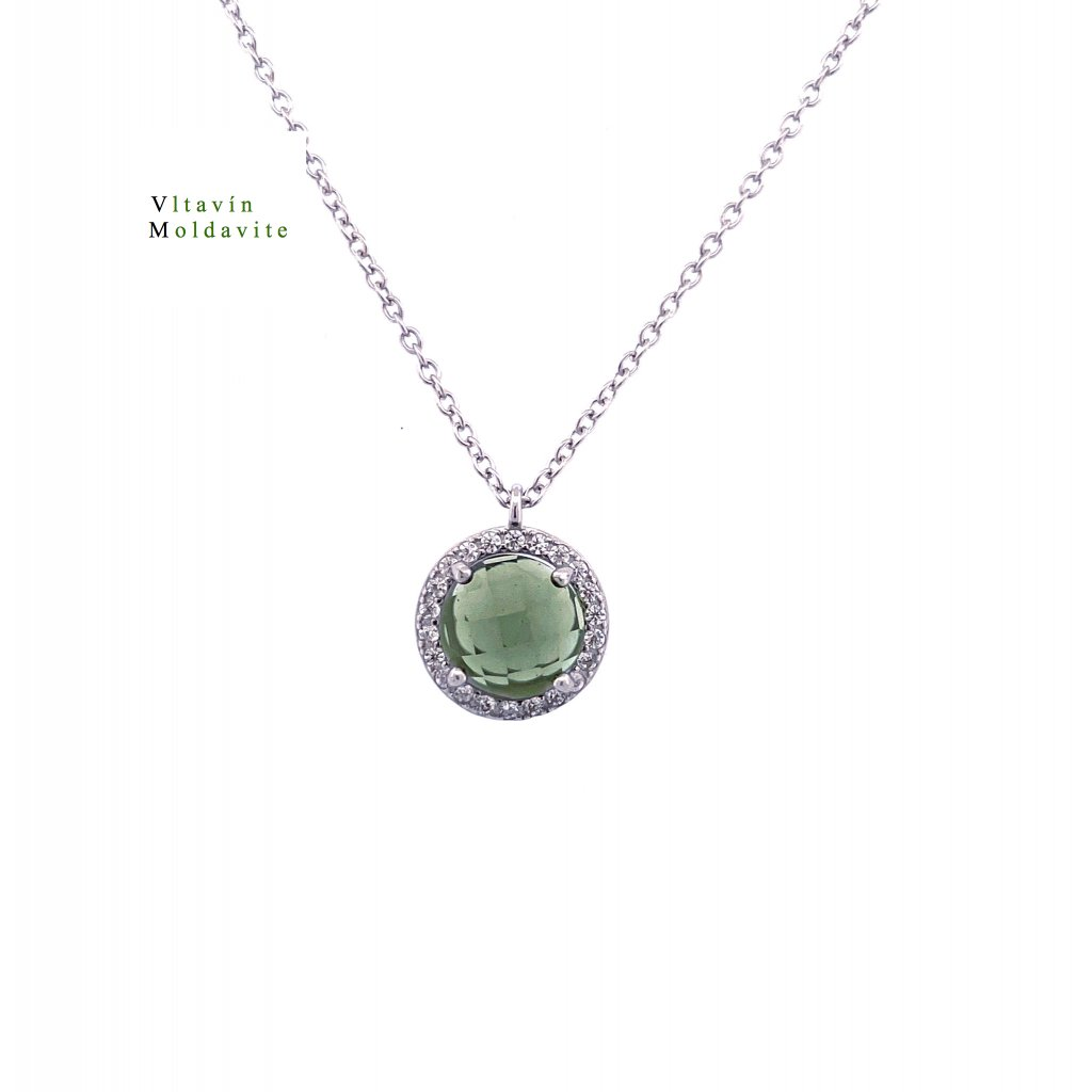 Stříbrný náhrdelník s vltavínem , polobrus