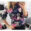 Halenka košile květovaná dlouhý rukáv dámská (UNI S-M) ITALSKÁ MÓDA IMW20A0-17/D