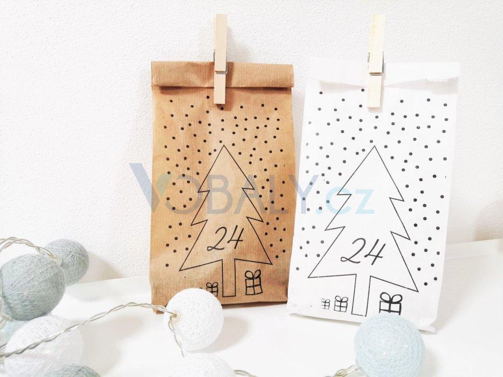 papírové sáčky s vánočním potiskem, adventní kalendář, papírové pytlíčky, pytlíky s potiskem, vánoční sáčky, sada adventní kalendář