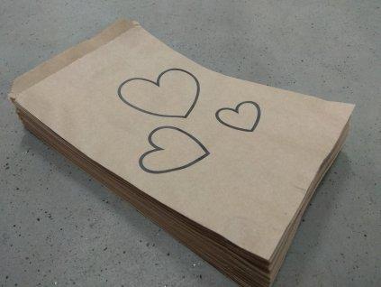 papírový sáček s potiskem valentýn tři srdce obrys černý
