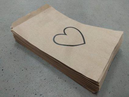 papírový sáček s potiskem valentýn srdce obrys černý