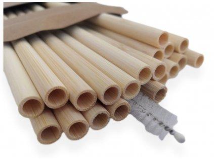 Bambusová brčka 20 ks + kartáček