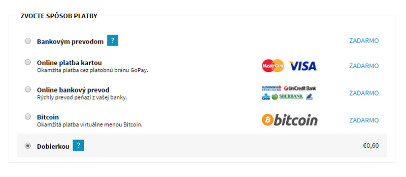 platobná brána GoPay, platba Bitcoinom