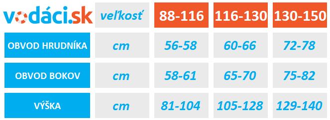 Tabuľka veľkosti vodáckej bundy Hiko Quest Junior od VODACI.sk