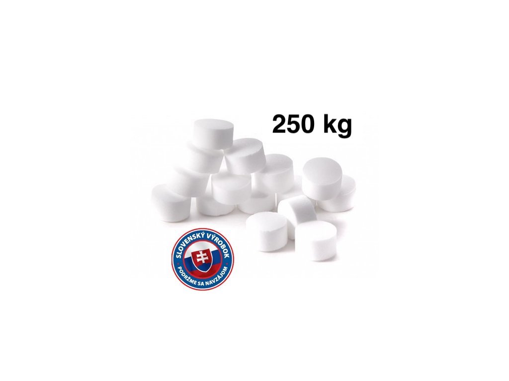 Tabletovaná soľ (10x25kg) na regeneráciu zmäkčovačov a úpravní vôd, top cena v SR.
