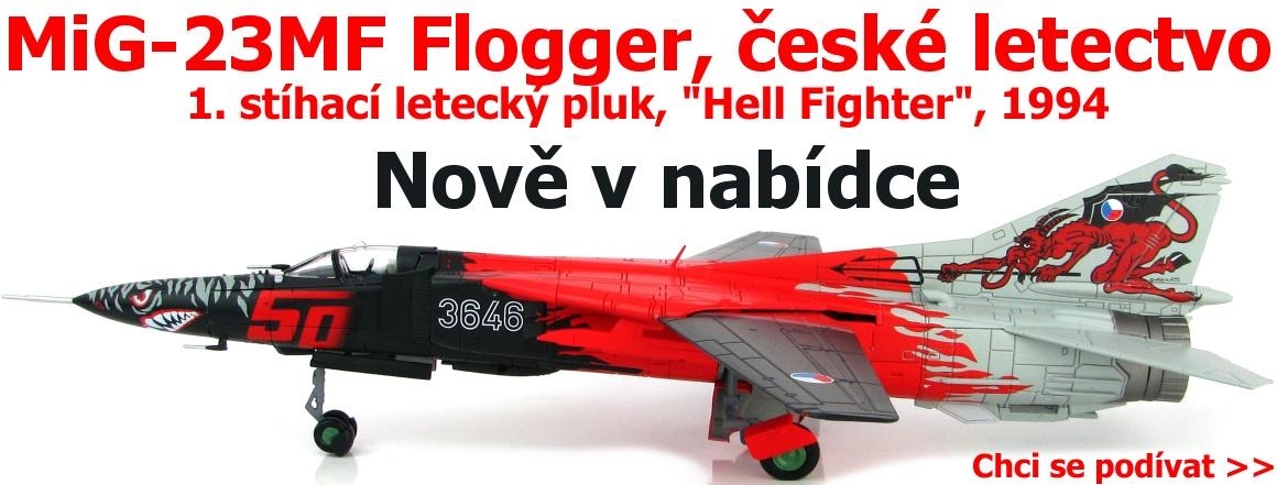 """HobbyMaster - MiG-23MF Flogger, české letectvo, 1. stíhací letecký pluk, výroční zbarvení """"Hell Fighter"""", 1994, 1/72"""
