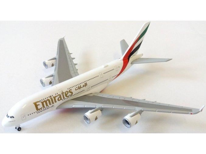 """Herpa - Airbus A380-861, společnost Emirates, """"2010s"""" colors, Spojené Arabské Emiráty, 1/500"""