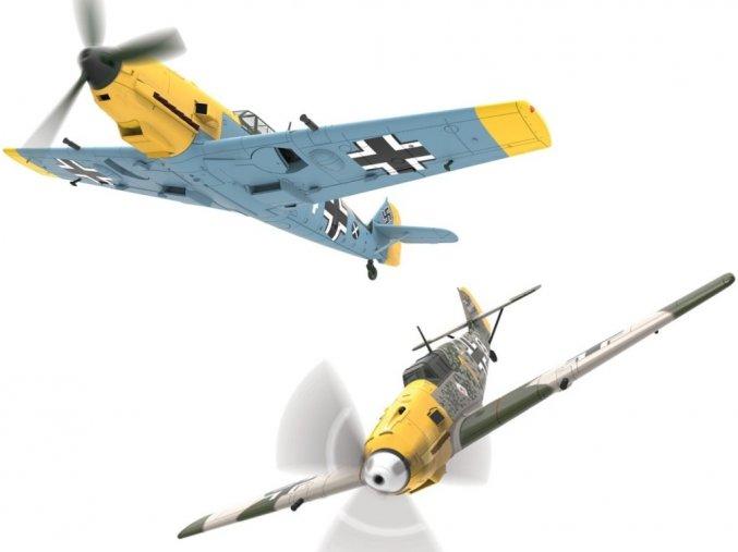 Corgi SET - Messerschmitt Bf-109E-4, letecká esa, Hans-Joachim Marseille a Oberleutnant Josef 'Pips' Priller, Francie, 1940, 1/72