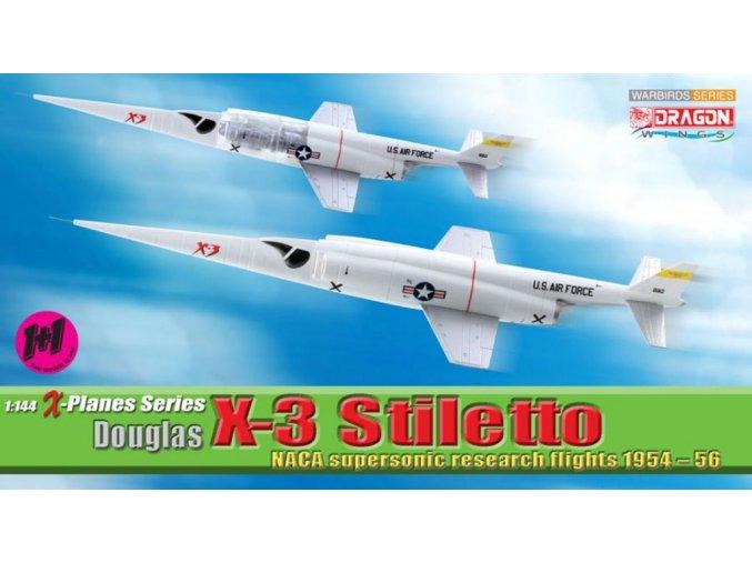Dragon - Douglas X-3 Stiletto, NACA/USAF, Edwards AFB, set 2 modelů, 1/144, SLEVA 38%