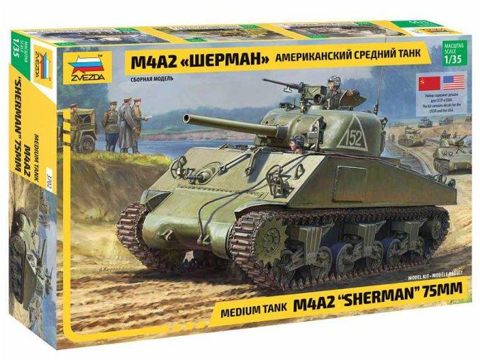 Zvezda - M4A2 Sherman, Model Kit 3702, 1/35