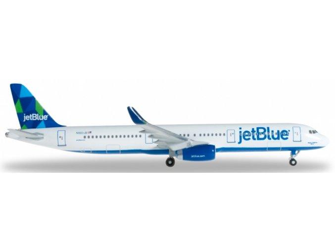"Herpa - Airbus A321-231, společnost JetBlue Airways Mid, Named ""'Bigger Brighter Bluer"", USA, 1/500"