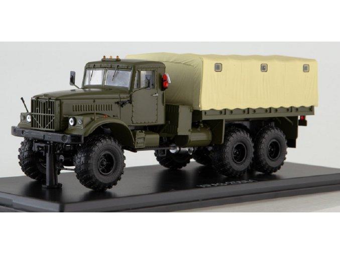 Start Scale Models - KrAZ-255B1, valník s plachtou (khaki), 1/43