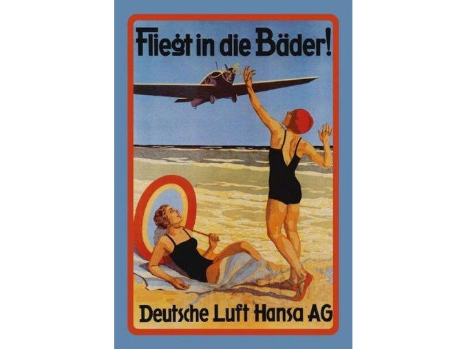 """Plechová cedule Deutsche Lufthansa """"Fliegt in die Bäder"""", 30 x 20 cm"""