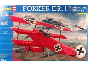 Revell - Fokker Dr.I, Richthofen, Rudý baron, Manfred von Richthofen, ModelKit 04744, 1/28