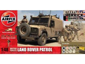 Airfix - set Land Rover Defender a vojáci (8 figur), britská armáda, Gift Set A50121, 1/48