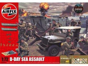 Airfix - diorama pláže Den D, Vyloďovací člun, Jeep Willys, pěchota, 1/72, Gift Set A50156
