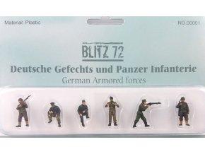Blitz 72 - set figur osádka tanku Wehrmacht a pěchota, 1/72