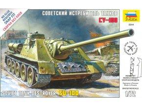 Zvezda - stíhač tanků SU-100, Snap Kit 5044, 1/72