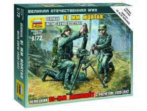 Zvezda - německý minomet 81 mm s obsluhou, Wargames (WWII) 6111, 1/72