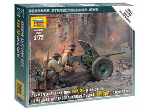 Zvezda - figurky protitankový kanón 3,7 cm Pak 36 s obsluhou, Wargames (WWII) 6114, 1/72
