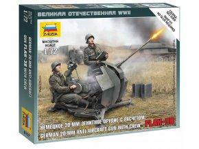 Zvezda - Rheinmetall 2 cm Flak 38 s obsluhou, Wargames (WWII) 6117, 1/72