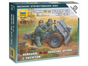 Zvezda - dělo 7.5 cm Infanteriegeschütz 37 s obsluhou, Wargames (WWII) 6156, 1/72