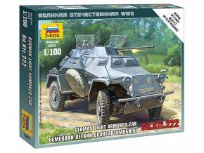 Zvezda - lehké obrněné průzkumné vozidlo Sd.Kfz.222, Wargames (WWII) 6157, 1/100