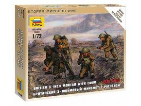 Zvezda - figurky britský minomet s obsluhou, 1939-42, Wargames (WWII) 6168, 1/72
