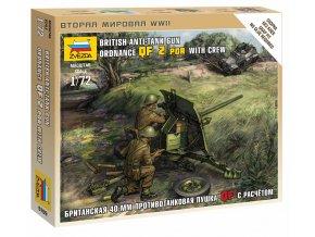 Zvezda - figurky protitankové dělo Ordnance QF 2 pounder s obsluhou, Wargames (WWII) 6169, 1/72