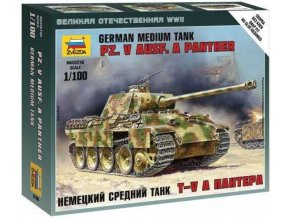 Zvezda - Pz.Kpfw.V Ausf.A Panther, Wargames (WWII) 6196, 1/100