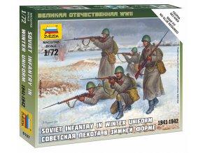 Zvezda - figurky sovětská pěchota, zimní uniformy, Wargames (WWII) 6197, 1/72