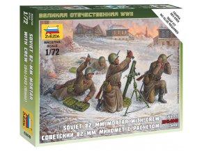 Zvezda - figurky sovětský minomet 82 mm s obsluhou, zimní uniformy, Wargames (WWII) 6208, 1/72