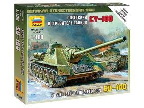 Zvezda - stíhač tanků Su-100, sovětská armáda, Wargames (WWII) 6211, 1/100