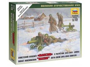 Zvezda - figurky sovětský kulomet Maxim s obsluhou, zimní uniformy, Wargames (WWII) 6220, 1/72
