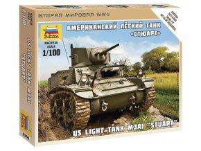Zvezda - americký lehký tank M3 Stuart, 1/100, Wargames (WWII) 6265