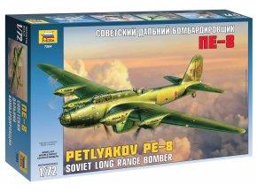 Zvezda - Petljakov Pe-8, sovětský čtyřmotorový bombardér, Model Kit 7264, 1/72