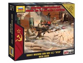 Zvezda - figurky sovětský těžký kulomet NVS 12,7 mm s posádkou, Wargames (HW) 7411, 1/72