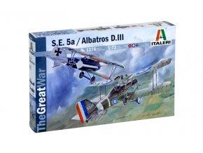 Italeri - Set Royal Aircraft Factory S.E.5a a Albatros D.III, Model Kit 1374, 1/72
