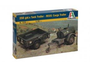 Italeri - Set M101 přepravní vozík a cisternový vozík na 250 galonů, Model Kit 0229, 1/35