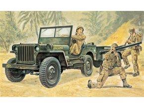 Italeri - Jeep Willys MB s přívěsným vozíkem, Model Kit 0314, 1/35