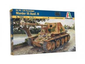 Italeri - stíhač tanků Marder III Ausf. H, Model Kit 7060, 1/72