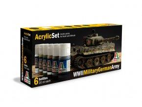 Italeri - Sada akrylových barev - německá armáda 6 ks, 2.světová válka, 433AP