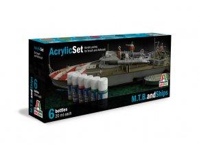 Italeri - Sada akrylových barev - Torpédové čluny a lodě 6 ks, 434AP