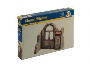 Italeri - budova kostelní zeď s oknem, Model Kit 0408, 1/35