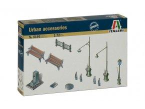 Italeri - doplňky do města, lampy, zábradlí, lavičky, 1/72, Model Kit 6146
