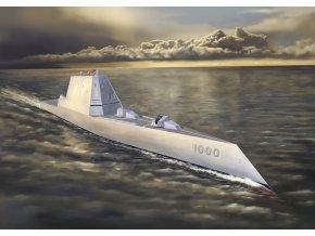 Dragon - raketový stealth torpédoborc USS Zumwalt (DDG-1000), 1/700, Model Kit 7141