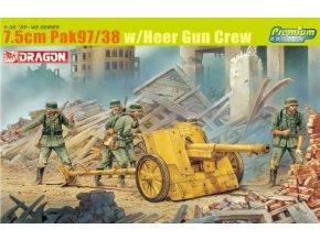 Dragon - německý protitankový kanón 7,5 cm Pak 97/38 s posádkou, Model Kit 6443, 1/35