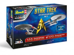 Revell - Star Trek - hvězdná loď U.S.S. Enterprise NCC-1701, Star Trek: Do temnoty, STAR TREK Anniversary Set, 1/500 a 1/600, Gift Set Star Trek 05721