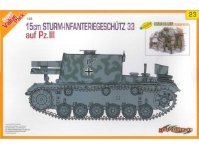 Dragon - 15cm STURM-INFANTERIEGESCHÜTZ 33 na podvozku Panzer III + figurky německé pěchoty, 1/35, Model Kit 9123