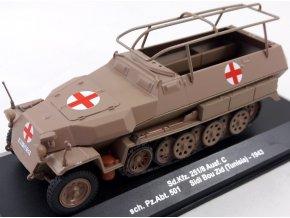 Eaglemoss - Sd.Kfz.251/8 Ausf.C ''Hakl'' sanitní verze, Afrikakorps, Sch.Pz.Abt. 501, bitva o Sidi Bou Zid, Tunis, 1943, 1/43
